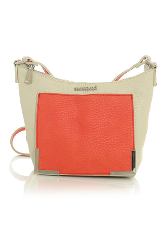 Cream & Coral Eco Leather Handbag with Metal Accents