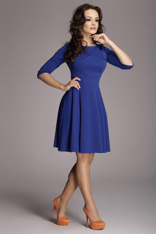 Deep Blue 3/4 Inch Sleeve Flared Dress