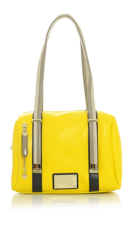 Bright Yellow Mini-Duffel Handbag with Taupe Tan and Black Accented Trim