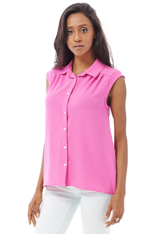 Crepe Feel Sleeveless Swing Blouse Available in Plus Sizes-Cerise-UK 18 - EU 46