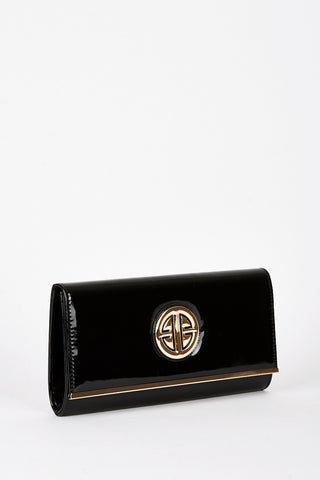 Large Patent Black Clutch Bag with Motif-Black