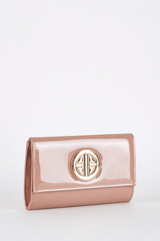 Patent Clutch Bag with Gold Coloured Design-Brown