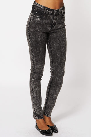 Acid Washed Black Skinny Jeans Ex-Branded-Black-14