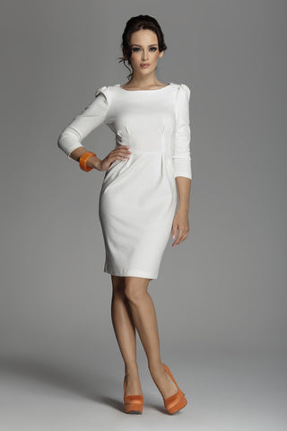 Off White Ruched Long Sleeve Dress