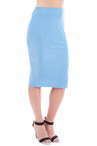 Smart Pencil Skirt-Blue-UK 10 - EU 38