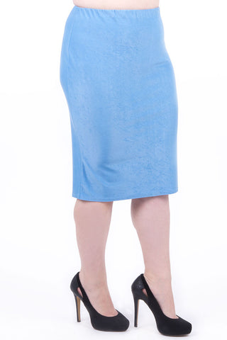 Smart Pencil Skirt-Blue-UK 16 - EU 44