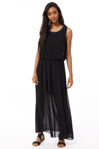 Chiffon Maxi Dress with Pleated Swing Top Detail-Black-S/M - UK (8-10)