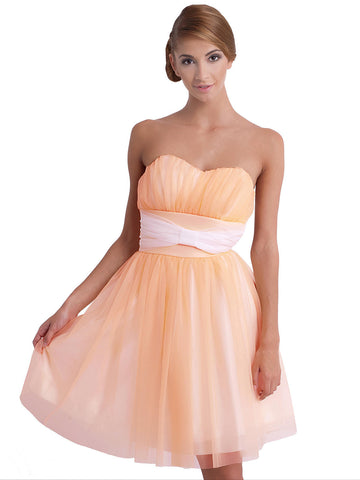 Orange Peach Tule Sweetheart Party Dress