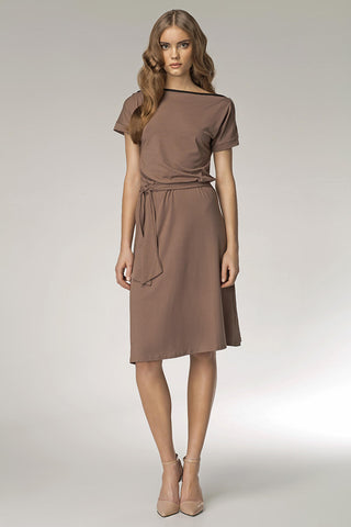 Mocha Shoulder Resting Knee Length Dress with Belted Tie