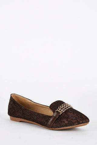 Large Size Lace Detail Pumps-Brown-UK 10 - EU 43