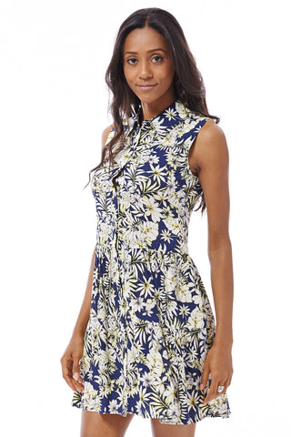 Floral Shirt Dress-Navy-Medium - UK (10-12)