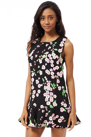 Flower Print Dress-Black-XSmall - UK (6-8)