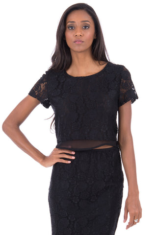 Black Lace Crop Top-Black-UK 12 - EU 40