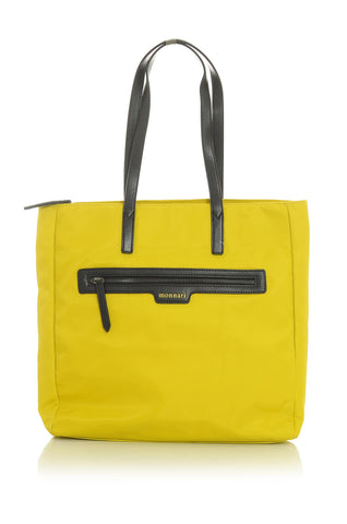 Neon Yellow Tote Handbag with Brown Accents