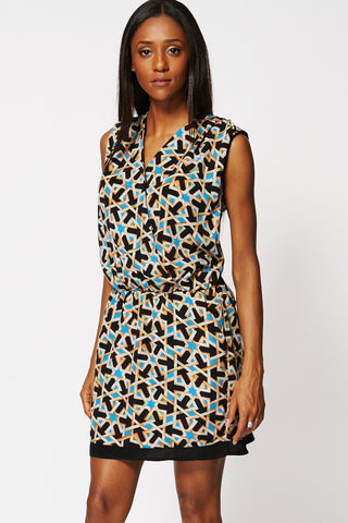 Geometric Print Crossover Sleeveless Dress-Multi-14