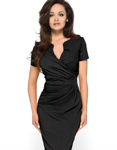 Short Sleeve Plunging Neck Black Ruched Dress