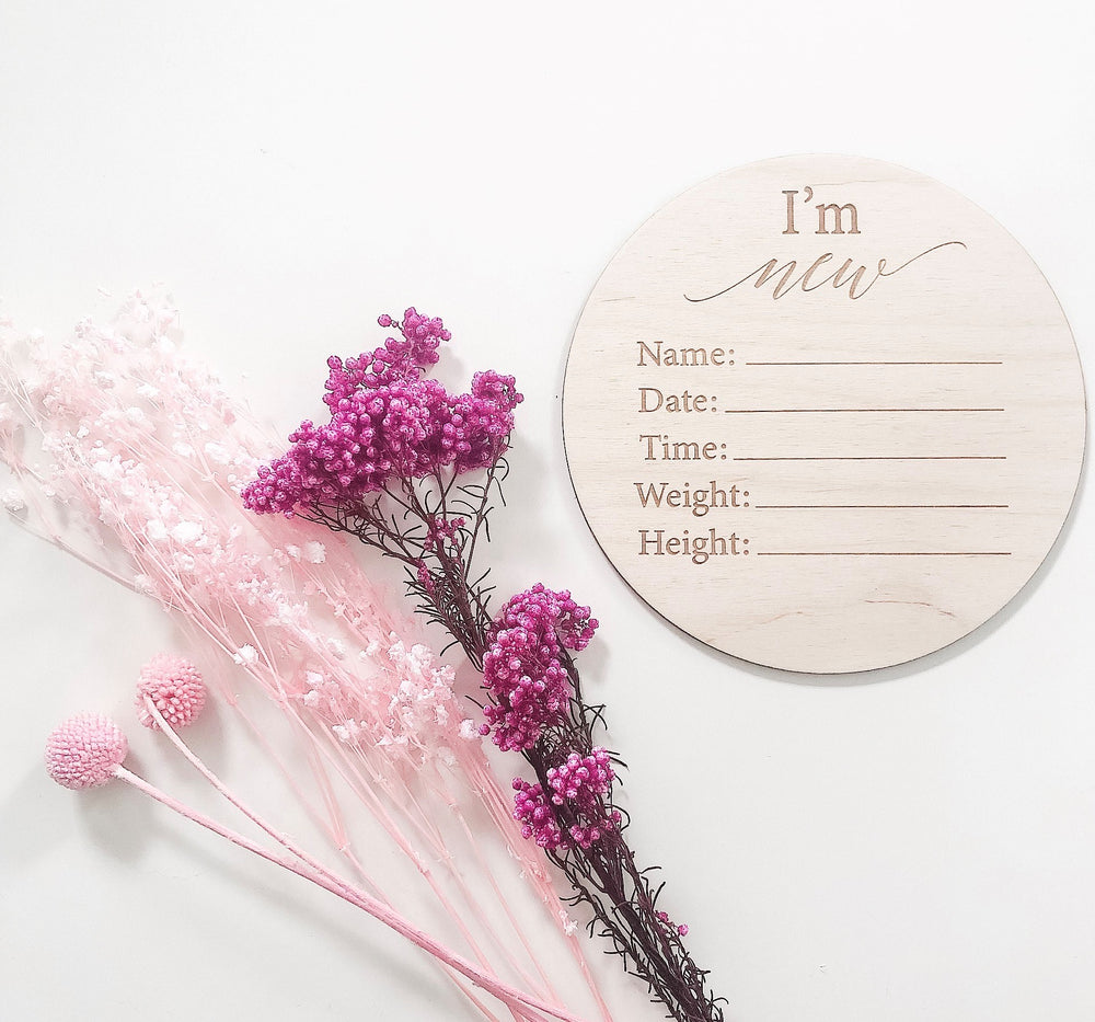 I'm new baby announcement plaque