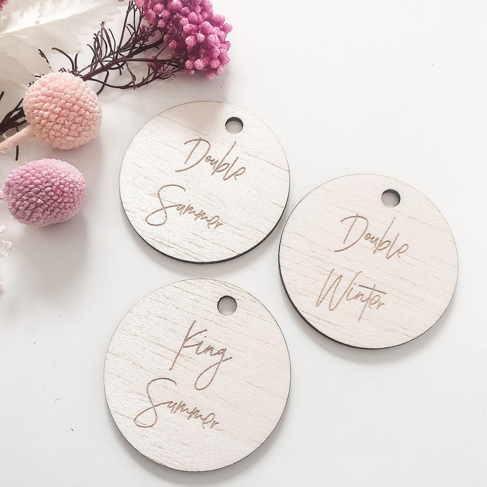 5cm customised circular wooden tags