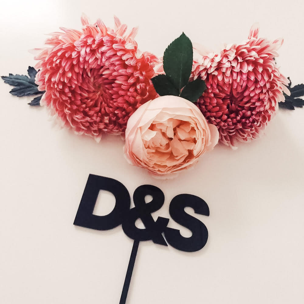 Couple initials cake topper