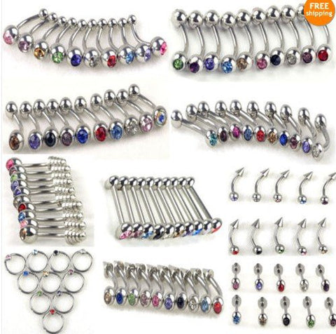 100 pcs 10 styles of Belly-Tongue-Lip Crystal Stainless Steel