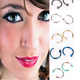 10 pcs Stainless Steel Fake Nose Rings Hoop 5 Colors