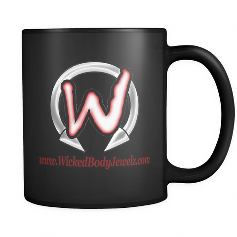 Black Coffee Mug with Wicked Body Jewelz Logo