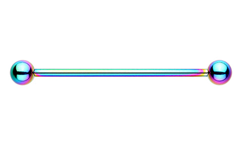 "Colorline PVD Industrial Barbell - 14 GA (1.6mm) - Ball Size: 1/4"" (6mm) - Rainbow - Sold Individually"
