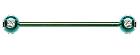 "Colorline PVD Aurora Glass-Gem Ball Industrial Barbell - 14 GA (1.6mm) - Ball Size: 1/4"" (6mm) - Green/Clear - Sold Individually"