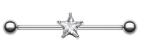 Glass-Gem Star Industrial Barbell - 14 GA (1.6mm) - Clear - Sold Individually