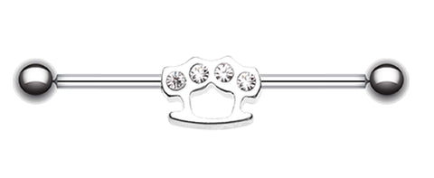 Brass Knuckles Industrial Barbell - 14 GA (1.6mm) - Clear - Sold Individually