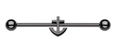 "Colorline Dainty Anchor Industrial Barbell - 14 GA (1.6mm) - Ball Size: 3/16"" (5mm) - Black - Sold Individually"