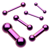 "Colorline PVD 316L Surgical Steel Barbell - 14 GA (1.6mm) - Ball Size: 3/16"" (5mm) - Purple - Sold as a Pair"