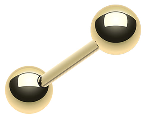 "Gold Plated 316L Surgical Steel Barbell - 8 GA (3.2mm) - Ball Size: 9/32"" (7mm) - Sold as a Pair"