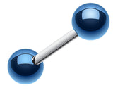 "Colorline PVD Ball Top 316L Surgical Steel Barbell - 14 GA (1.6mm) - Ball Size: 3/16"" (5mm) - Blue - Sold as a Pair"