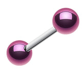 "Colorline PVD Ball Top 316L Surgical Steel Barbell - 14 GA (1.6mm) - Ball Size: 3/16"" (5mm) - Purple - Sold as a Pair"