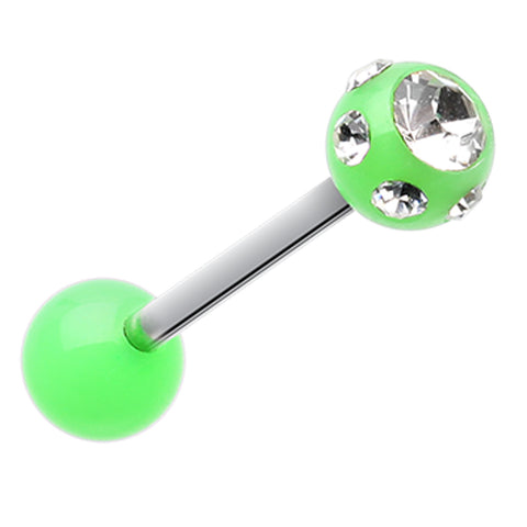 "Aurora Glass-Gem Ball UV Acrylic Barbell Tongue Ring - 14 GA (1.6mm) - Ball Size: 1/4"" (6mm) - Green/Clear - Sold as a Pair"