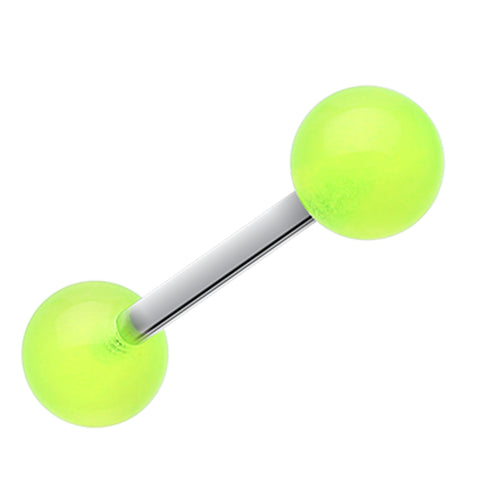 "Glow in the Dark UV Acrylic Barbell Tongue Ring - 14 GA (1.6mm) - Ball Size: 1/4"" (6mm) - Green - Sold as a Pair"