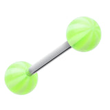 "Candy Stripe Acrylic Top Barbell Tongue Ring - 14 GA (1.6mm) - Ball Size: 1/4"" (6mm) - Green - Sold as a Pair"