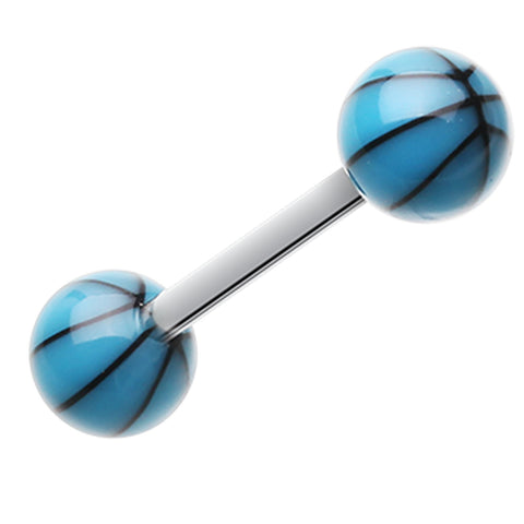 "Basketball Acrylic Top Barbell Tongue Ring - 14 GA (1.6mm) - Ball Size: 1/4"" (6mm) - Blue - Sold as a Pair"