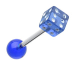 Dice Acrylic Top Barbell Tongue Ring - 14 GA (1.6mm) - Blue - Sold as a Pair
