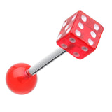 Dice Acrylic Top Barbell Tongue Ring - 14 GA (1.6mm) - Red - Sold as a Pair