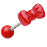 Cutesy Bow-Tie Acrylic Barbell Tongue Ring - 14 GA (1.6mm) - Red - Sold as a Pair