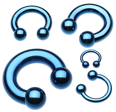 "Colorline PVD Horseshoe Circular Barbell - 2 GA (6.5mm) - Ball Size: 3/8"" (10mm) - Blue - Sold as a Pair"