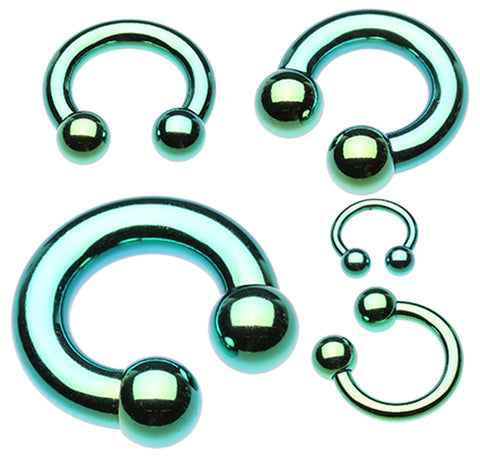 "Colorline PVD Horseshoe Circular Barbell - 14 GA (1.6mm) - Ball Size: 5/32"" (4mm) - Green - Sold as a Pair"