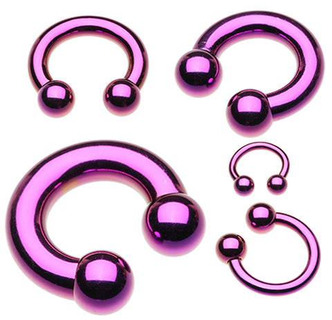 "Colorline PVD Horseshoe Circular Barbell - 12 GA (2mm) - Ball Size: 1/4"" (6mm) - Purple - Sold as a Pair"