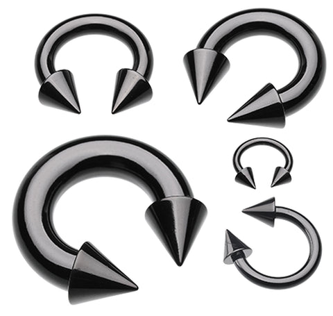 "Colorline PVD Spike Top Horseshoe Circular Barbell - 8 GA (3.2mm) - Ball Size: 1/4"" (6mm) - Black - Sold as a Pair"
