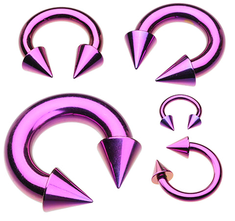 "Colorline PVD Spike Top Horseshoe Circular Barbell - 0 GA (8mm) - Ball Size: 1/2"" (12mm) - Purple - Sold as a Pair"