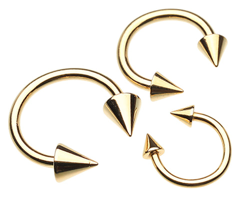 "Gold Plated Spike Top Horseshoe Circular Barbell - 0 GA (8mm) - Ball Size: 1/2"" (12mm) - Sold as a Pair"