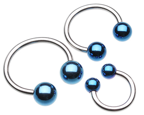 "Colorline PVD Ball Ends 316L Surgical Steel Horseshoe Circular Barbell - 14 GA (1.6mm) - Ball Size: 3/16"" (5mm) - Blue - Sold as a Pair"