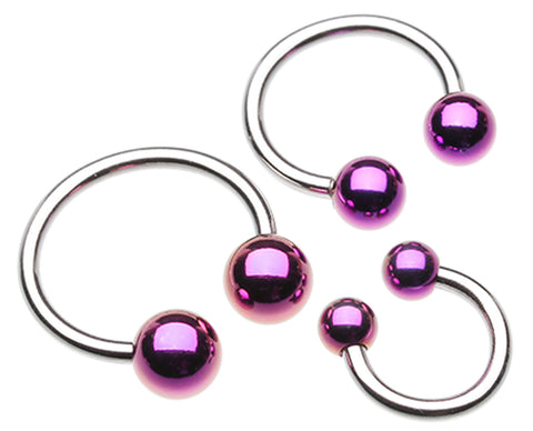 "Colorline PVD Ball Ends 316L Surgical Steel Horseshoe Circular Barbell - 14 GA (1.6mm) - Ball Size: 1/4"" (6mm) - Purple - Sold as a Pair"